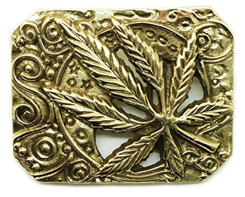 Canabis Leaf Buckle Belt - Marijuana Grass Solid Brass Pattern - Authentic Baron Buckles Brand Product