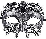 Masque de mascarade pour hommes Masque de fête grecque Mardi Gras Masque d'Halloween (Argent noir)
