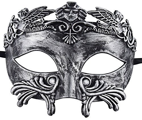 römischen Maskerade Maske Männer venezianische Maske Mardi Gras Maske Hochzeit Ball Maske (Silber schwarz) (Klassische Halloween-kostüme Für Jungen)