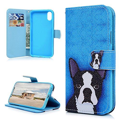 MAXFE.CO Schutzhülle Tasche Case für iPhone X PU Leder Flip Tasche Cover Gemalt Muster im Ständer Book Case / Kartenfach Rock Musik Hund