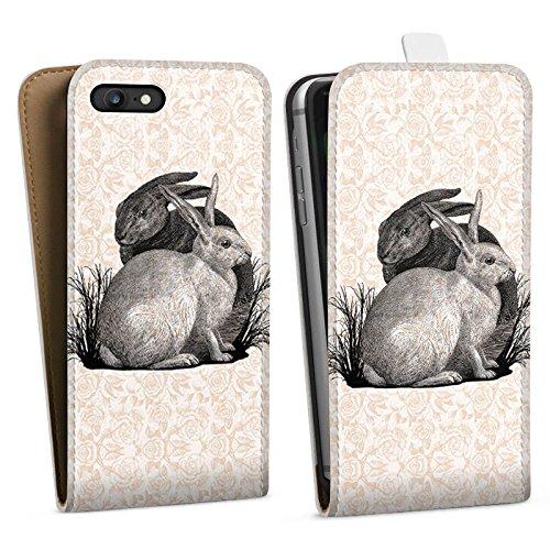Apple iPhone X Silikon Hülle Case Schutzhülle Hase Häschen Hasen Downflip Tasche weiß