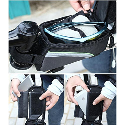 Bike Repair Tasche Set, ag-fashion Fahrrad Rahmen Pannier Handy Radfahren vorne Top Tube 14,5 cm Handy Touch Bildschirm Halter mit 14 in 1 Multi-Funktion Tool Kit Kette Splitter Rot