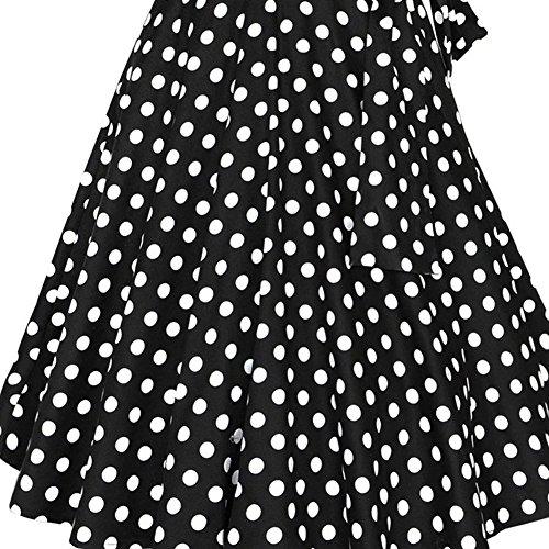 WintCO Damen Reverse Rockabilly Audrey Hepburn 1/2 Ärmel Vintage Faltenrock mit Gürtel Polka Dots Kleid Retro schwarz mit Punkte