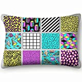 dfgi Memphis s Geometric Grid Striped Abstract Abstract Pillowcases Decorative Pillow Covers Soft and Cozy, Standard Size 20'x30' with Hidden Zipper