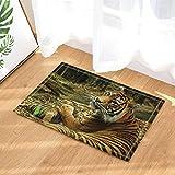 Safari Decor mère tigre et bébé sur les tapis de bain en bois anti-dérapant paillasson entrées d'étage tapis de porte avant d'intérieur tapis de bain pour enfants 60X40CM salle de bains accessoires