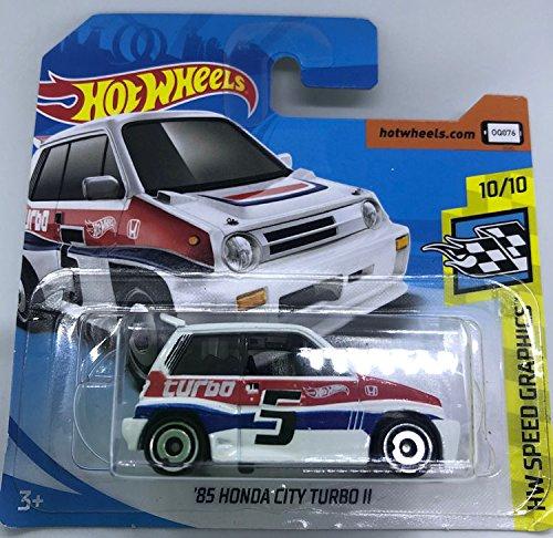 Hot Wheels 2018 '85 Honda City Turbo II White 10/10 HW Speed Graphics 68/365 (Short Card)