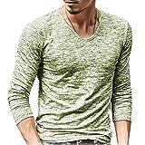 ShallGood Uomo T-Shirt con Maniche Lunghe Scollo A V Tops Casual Tinta Unita Slim Fit Aspetto Miscelazione del Colore Shirts Tops Verde Medium