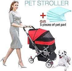 Wooce Pet vierrädrigen Trolley Hunde Katzen Wagen stoßfest Robust Kinderwagen, verstellbar, aktiviert, faltbar, schnelle Montage, ideal für Reisen