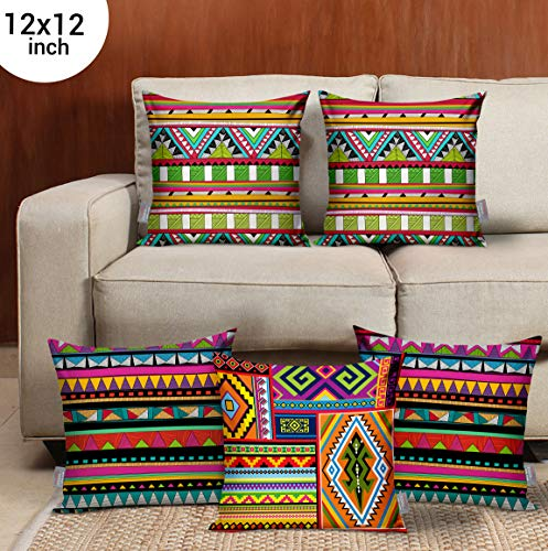 TIED RIBBONS Set of 5 Printed Decorative Cushion Covers 12 Inch X 12 Inch for Wooden Sofa, Bedroom Decoration (Multicolor)