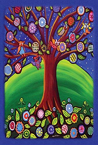 Toland Home Gartenfahne, Eulenmotiv, 71,1 x 101,6 cm, dekorativ, Bunte Eule, Vogel, Blumen, Blätter, Hausflagge