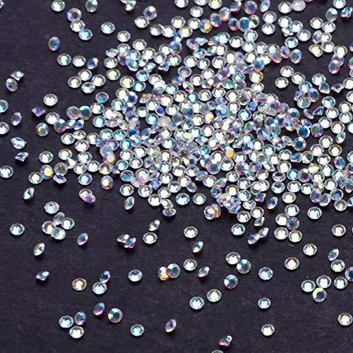 Febelle 1000 Stück 1,2 mm transparente Kristall-Strasssteine glänzend rund kegelförmige...