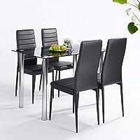 FURNITURE-R France Ensemble Table et Lot de x4 chaises de Salle à Manger, Noir, 110 x 66 x 76cm