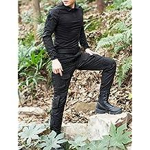 Juego de chaqueta y pantalones comando, diseño de camuflaje, tipo uniforme militar, negro