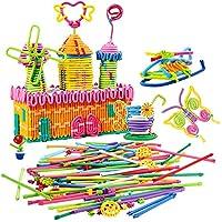 Peradix 360° Bendable Building Sticks Toy 111Pcs Rainbow Building Block Set DIY Learning Toys Building Blocks Kids Toddlers Toys Guide Booklet Edutainment as (111Pcs)