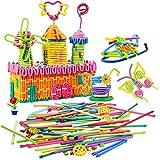 Peradix DIY Costruzioni Giochi - Creativo Bastoncini da Costruzioni(111 pezzi) - Colorati Bastoni Morbidi Giochi - 3D Gioco Educativo a Sviluppare la creatività per Bambini più di 2anni