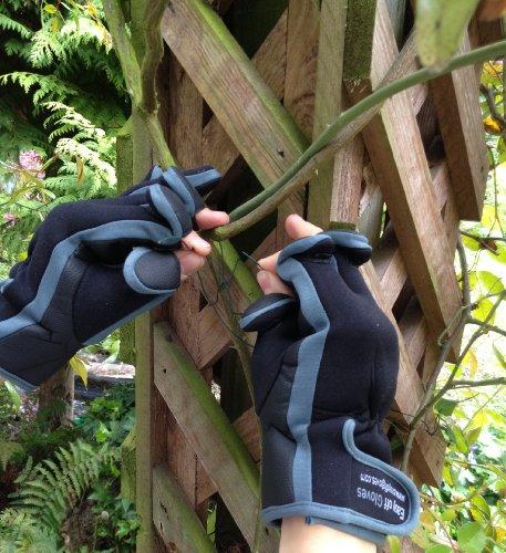 Neopren-Handschuhe mit Klettverschluss (umklappbares Fingerspitzenteil) von Easy Off Gloves –ideal zum Reiten, Schießen, Angeln, Radfahren, für Gartenarbeit, Fotografie, Heimwerker und als allgemeine Arbeitskleidung. (EU 11–XL) - 6