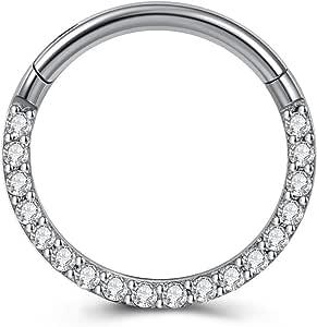 PiercingJak 16G - Piercing a cerchio, in acciaio chirurgico 16G, per setto nasale, trago, elice, orecchio, naso, labbro, anello 8-10 mm, CZ/opale sintetico