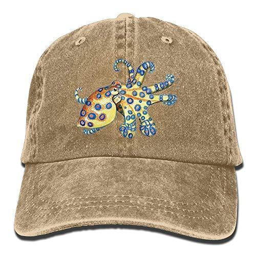 Blue Ring Octopus Denim Baseball Caps Hat Adjustable Cotton Sport Strap Cap for Men Women