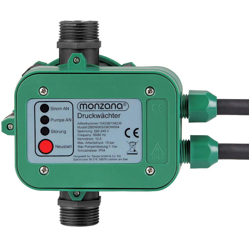Monzana ® Druckwächter Druckschalter Pumpensteuerung Hauswasserwerk Gartenbewässerung mit Kabel 10bar