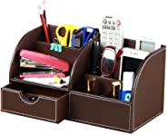 Office Desk Organizer PU Leather 6 Departments Pen Holder Desktop Storage Box Caddy with Drawer for Stationery/Pencils/Trinke