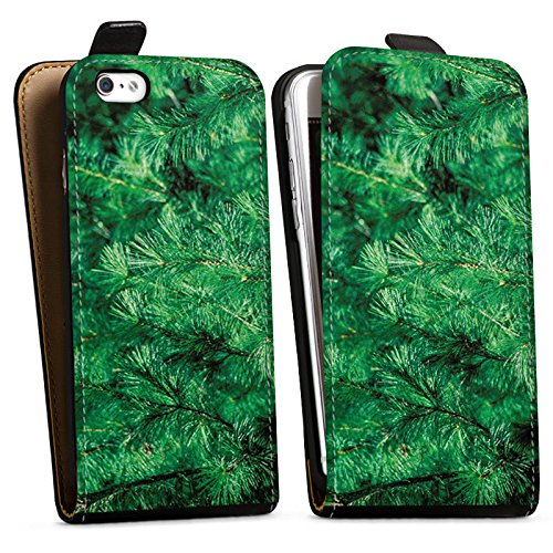 Apple iPhone X Silikon Hülle Case Schutzhülle Pinie Äste Natur Downflip Tasche schwarz