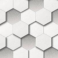 Muriva - Carta da parati con motivo a nido d'ape, colore bianco