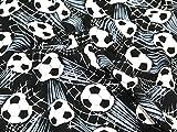 Timeless Treasures Fußball Ziel Quilting Stoff, Meterware, Schwarz + Frei Minerva Crafts Craft Guide