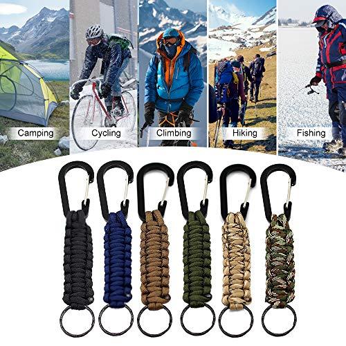 Imagen de lixada paracord pulsera 6pcs con llavero de clips para supervivencia camping senderismo mochila al aire libre alternativa