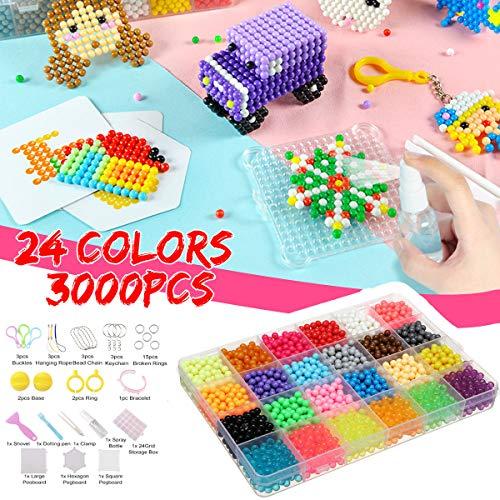Jeteven 3000 STK 24 Farben Wassersicherung DIY Perlen Set Handwerk mit Bügeln Papiere und Perlen Zubehör