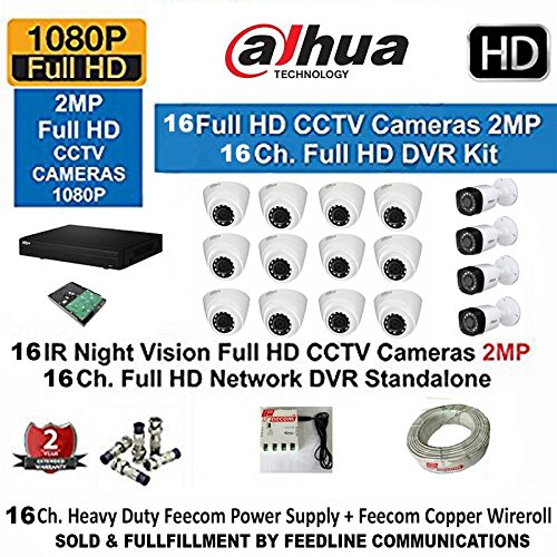 Dahua 16 Channel FULL Hd- Dvr With 1080P Realtime Preview + 12- Dahua FULL Hd Ir 2Mp Dome Camera & 4 –BULLET FULL HD 2-MP+ 3+1 Cctv Wire ROLL + 2-TB Hard Disk COMPLETE KIT ( SOLD & FULLFILLMENT BY FEEDLINE COMMUNICATIONS TRUSTED BY AMAZON )  available at amazon for Rs.49990