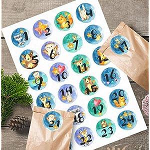 24 Aufkleber*Sticker*Adventkalender*Adventszahlen*woodland*Tiere*Kinder*4 cm*