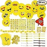 THE TWIDDLERS 288er Emoji Party Set für Kinder-Geburtstag – XXL Smiley Partyset & Deko Zubehör – Ideal als Gastgeschenk, Geburtstags-Mitbringsel & Party-Scherzartikel