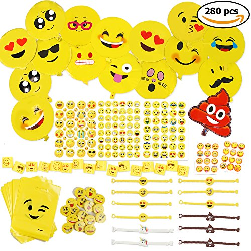 (THE TWIDDLERS 288er Emoji Party Set für Kinder-Geburtstag – XXL Smiley Partyset & Deko Zubehör – Ideal als Gastgeschenk, Geburtstags-Mitbringsel & Party-Scherzartikel)
