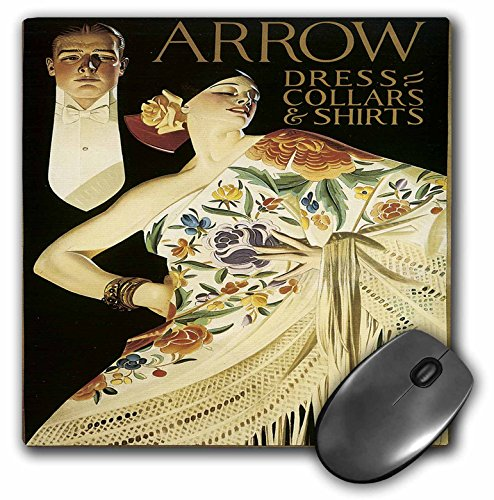 "3dRose Vintage Arrow Dress Collars and Shirts advertising Poster - Mouse Pad, 8 by 8"" (mp_130011_1)"