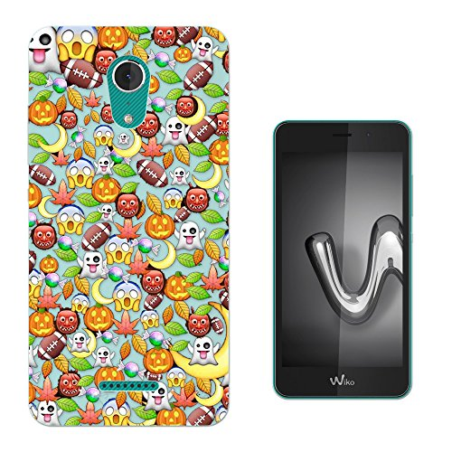 c01064 - Cool Fun Scary Halloween Emoji Pumpkin Monster Collage Design WIKO Tommy 2 PLUS (2017) 5.5