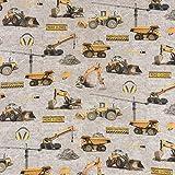 Baumwollstoff Digitaldruck Bagger Kran Schieber grau gelb