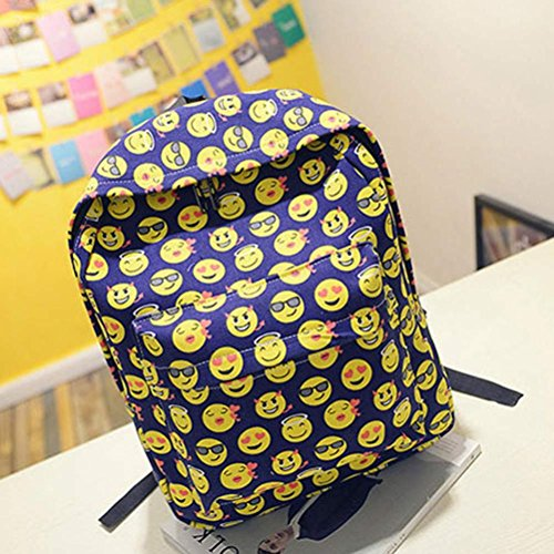 Imagen de malloom chica mujer sonriente emoji impresión  bolso lindo viaje  bolsa para la escuela azul  alternativa