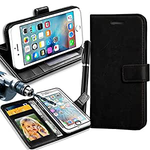 Gbos Rich Leather Stand Wallet Flip Case Cover For Apple Iphone 5 (Black) with TEMPERED GLASS AND Stylus Pen Brown