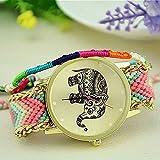 Reloj tejido mod. SUMMER , con dibujo elefante en la carátula y bordes dorados - Coral