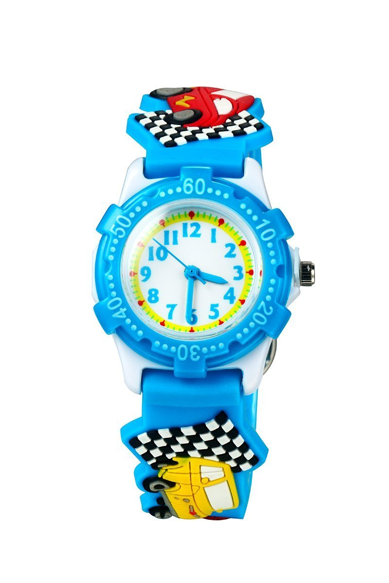 ParaCity Waterproof 3D Cute Cartoon Digital Silicone Wristwatches Time Teacher Gift for Little Girls Boy Kids Children (Little Car Blue)