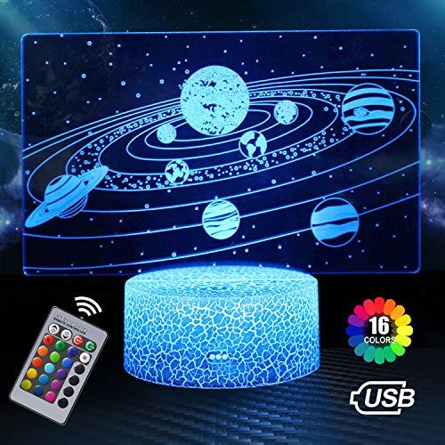 Sonnen System 3D Illusion Lampe, 3D Nachtlicht mit 16 Farben Ändern und Fernbedienung, Geburtstags und Weihnachtsgeschenke für Kinder(Sonnen System)