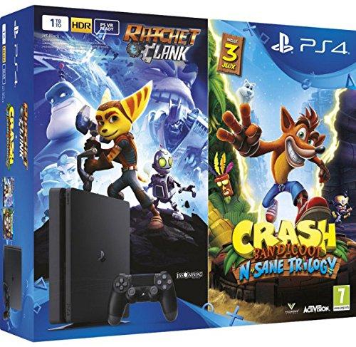 Console Videogames Sony Entertainment PS4 Slim 1TB + Ratchet & Clank + Crash Bandicoot: NSane Trilogy