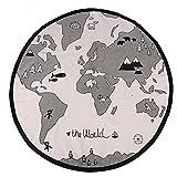 Zerodis 135cm Baby Spielmatte Weltkarte Rund Pädagogischer Spielteppich Aktivität Krabbeln Matte Multifunktional für Baby Kinder