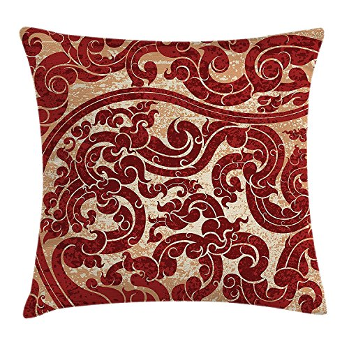 Antique Throw Pillow Cushion Cover, Thai Culture Vector Abstract Background Flower Pattern Wallpaper Design Artwork Print, Decorative Square Accent Pillow Case, 18 X 18 inches, Ruby Kings Crown Ruby