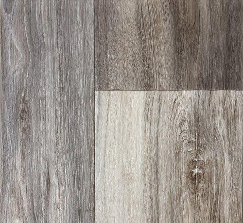 PVC-Bodenbelag Holzoptik | Muster | in Grau-Braun | Vinyl-Fußbodenbelag in verschiedenen Maßen verfügbar | Fußbodenheizung geeignet | PVC Platten strapazierfähig & pflegeleicht
