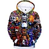 Jilijia Children's 3D Five NI-gh-ts at Fre-ddy's Hoodie Kids FNAF Hoodie Pattern Print Hoodie Hoodies Sweatshrit, Men's Casua