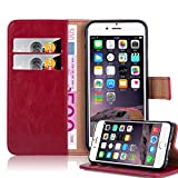 Cadorabo Coque pour Apple iPhone 6 Plus/iPhone 6S Plus en Rouge Cerise - Housse Protection avec Fermoire Magnétique, Stand Horizontal et Fente Carte - Portefeuille Etui Poche Folio Case Cover