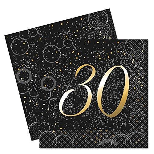 Glitz Blau Folie 30. Geburtstag Papier Servietten (Papier Geburtstag Party Servietten)