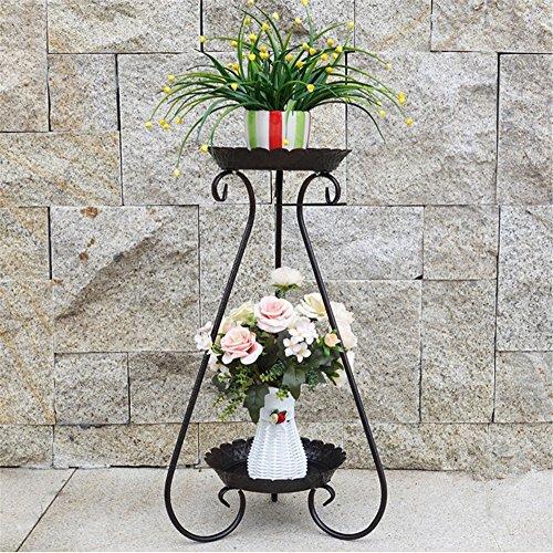 Porte-fleurs de style européen - Porte-fleurs en fer Porte-fleurs sur pied multicouche Fleur d'intérieur fleur de rotin salon balcon porte-fleurs Porte-fleurs d'orchidées ( Color : Noir , Taille : 44*95cm )