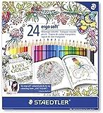 Staedtler Buntstifte ergosoft Set 24 Farben - ergonomische Dreikant-Form und Soft-Oberfläche für entspanntes Malen, weiche farbintensive Mine; Etui - 157 SB24
